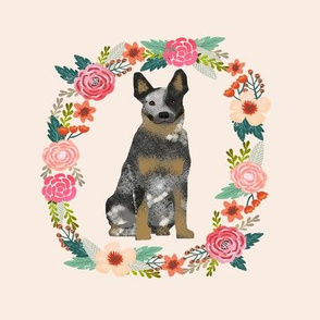 8 inch australian cattle dog blue heeler tricolored wreath florals dog fabric