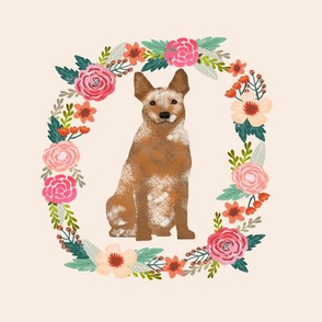 8 inch australian cattle dog red heeler tricolored wreath florals dog fabric