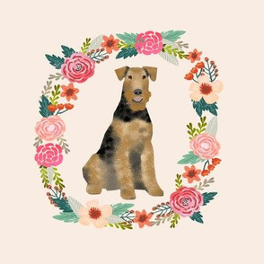 8 inch airedale terrier tricolored wreath florals dog fabric