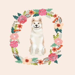 8 inch akita tricolored wreath florals dog fabric