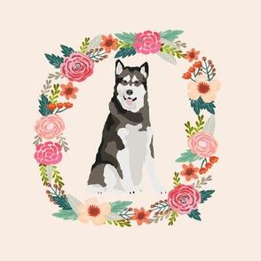 8 inch alaskan malamute tricolored wreath florals dog fabric
