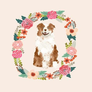 8 inch aussie red merle wreath florals australian shepherd dog fabric