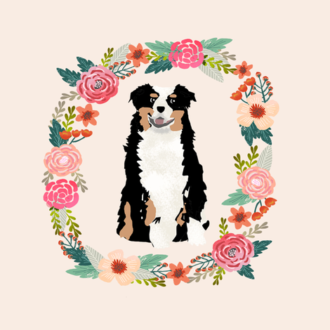 8 inch aussie tricolored wreath florals australian shepherd dog fabric fabric by petfriendly on Spoonflower - custom fabric