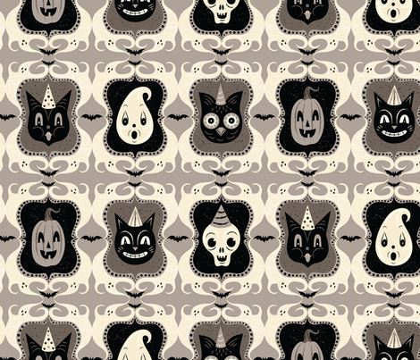 Ghost Frame Gray Spooks large fabric by johannaparkerdesign on Spoonflower - custom fabric