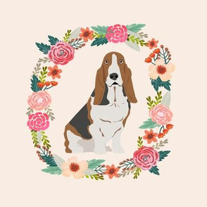 8 inch basset hound wreath florals dog fabric