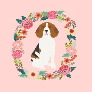 8 inch beagle wreath florals dog fabric