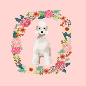 8 inch bedlington terrier wreath florals dog fabric