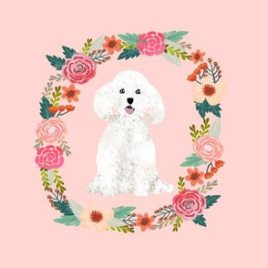 8 inch bichon frise wreath florals dog fabric