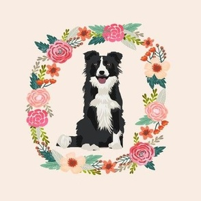 8 inch border collie black and white  wreath florals dog fabric