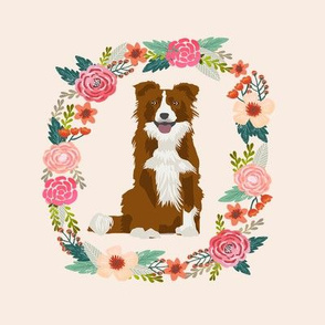 8 inch border collie red merle wreath florals dog fabric