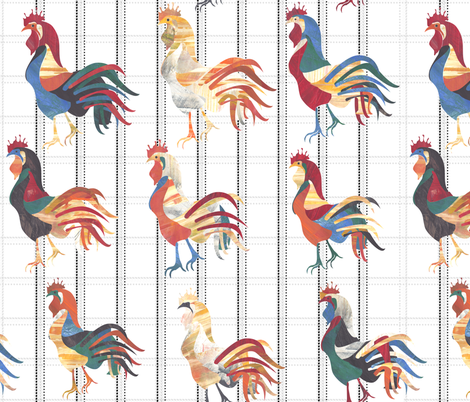 Modern Farmhouse Rooster fabric by inkysunshine on Spoonflower - custom fabric