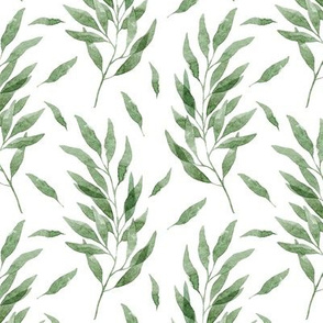 Green Watercolor Eucalyptus Pattern