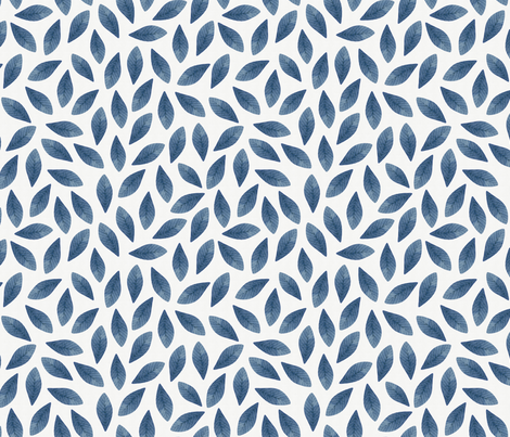 Blue Watercolor Leaves Seamless Pattern fabric by helga_wigandt on Spoonflower - custom fabric