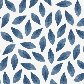 Blue Watercolor Leaves Seamless Pattern