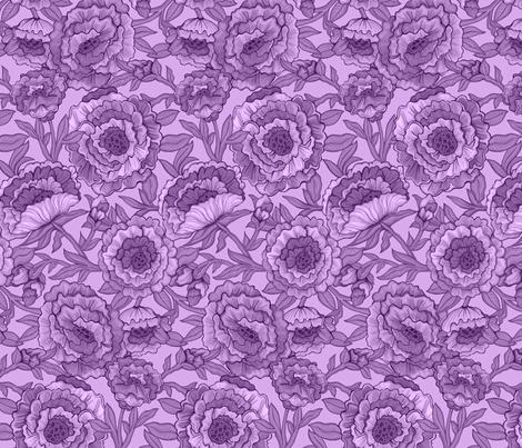 Peony Variations in Plum fabric by aliceio on Spoonflower - custom fabric