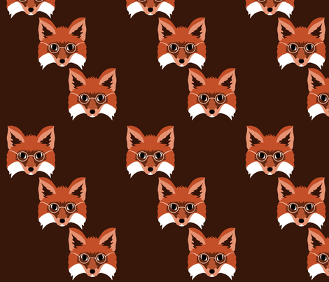 Smart Foxes in Monochrome fabric by ally_the_junebug on Spoonflower - custom fabric