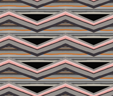 Geology unconformities zigzag stripes black fabric by lorloves_design on Spoonflower - custom fabric