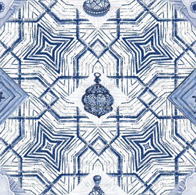 Moroccan Indigo Star Lattice