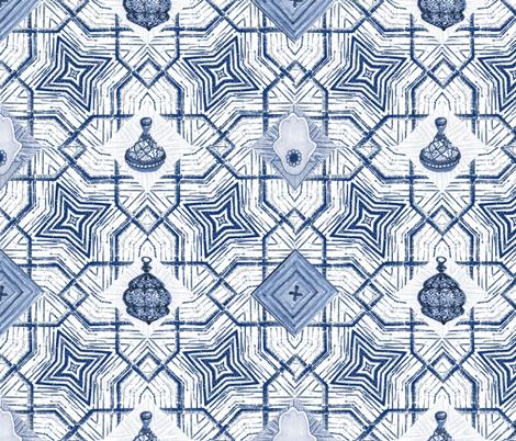 Moroccan Indigo Star Lattice fabric by bloomingwyldeiris on Spoonflower - custom fabric