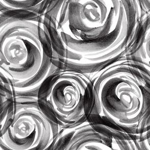 black white roses