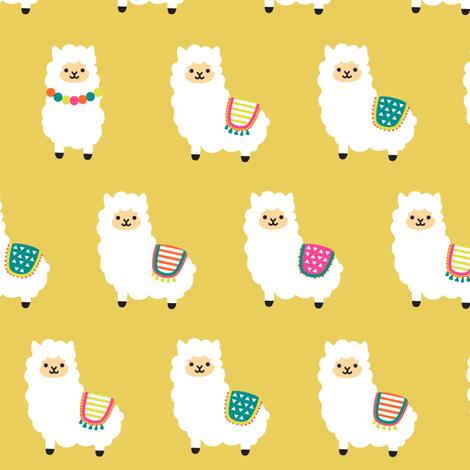 Alpaca Party - Golden Ocre Yellow fabric by heatherhightdesign on Spoonflower - custom fabric