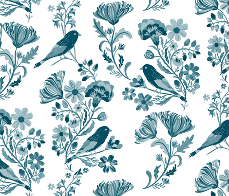 Hand painted Birds fabric by jill_o_connor on Spoonflower - custom fabric