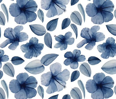 Watercolor hibiscuses fabric by ginkodesign on Spoonflower - custom fabric