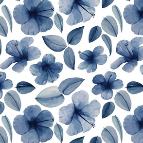 Watercolor hibiscuses