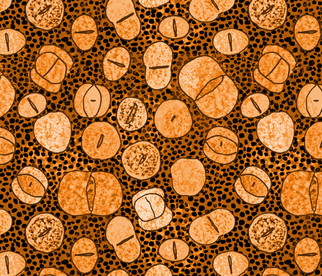 lithops /living stones/ in orange fabric by domoshar on Spoonflower - custom fabric