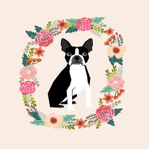 8 inch boston terrier wreath florals dog fabric