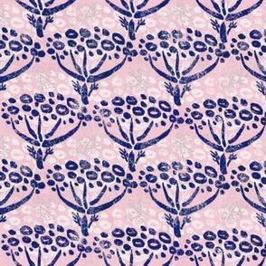 Herb-dill batik (navy-peach)