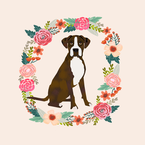 8 inch boxer brindle wreath florals dog fabric fabric by petfriendly on Spoonflower - custom fabric