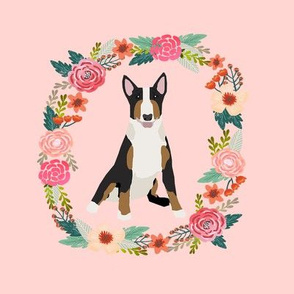 8 inch bull terrier wreath florals dog fabric