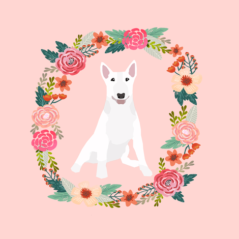 8 inch bull terrier wreath florals dog fabric fabric by petfriendly on Spoonflower - custom fabric