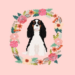 8 inch cavalier king charles spaniel wreath florals dog fabric