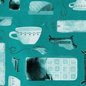 Lazy Sunday Essentials // A Cozy Chaise Lounge, Tea Cup, Warm Blanket, Chocolate Bar // Turquoise with Inky Textures