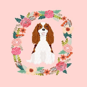 8 inch cavalier king charles spaniel blenheim wreath florals dog fabric