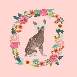 8 inch chinese crested wreath florals dog fabric