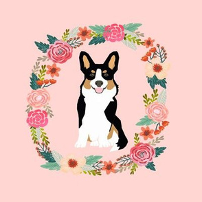 8 inch corgi tricolored wreath florals dog fabric