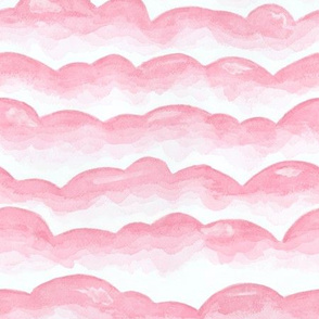 Watercolor Cloud Layers in Pink  // monochromatic watercolor cloud stripes ombre gradient layers baby pink fabric