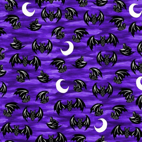 Bats in Moonlight Purple