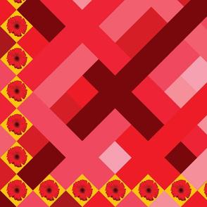 Red  daisy panel