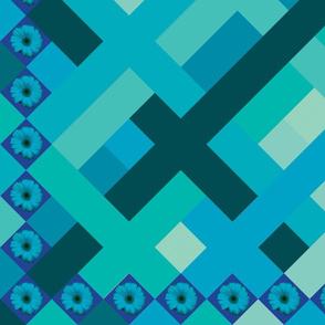 Blue  daisy panel