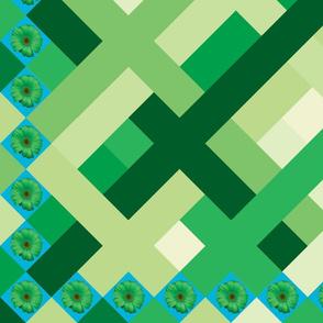 Green daisy panel