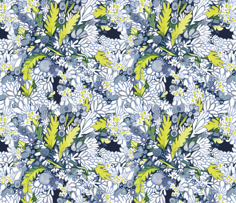 Blue Flower Garden fabric by autumncwright on Spoonflower - custom fabric