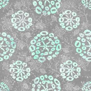 Herb-dill batik #5 (grey-mint)