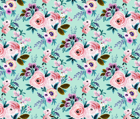 Victorian Floral M - Mint fabric by crystal_walen on Spoonflower - custom fabric