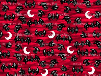 Bats in Moonlight Red