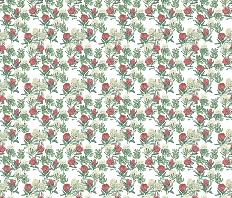 protea-white fabric by youdesignme on Spoonflower - custom fabric
