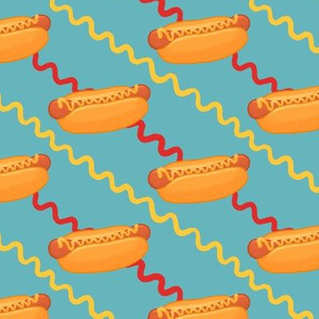Hot Dogs, Ketchup and Mustard on Blue